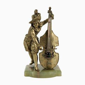 Barometer Regulate & Base in Semi-Precious Stone Representing a Cello Player