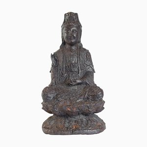 Iron Cast Buddha with Brown Patina