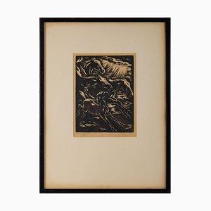 Gravure avec Cadre Stylisé Horses Running, 1930s