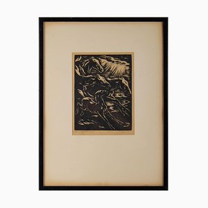 Stylized Horses Running Framed Engraving, 1930s