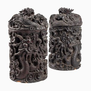19th Century Wooden Boxes with Indochina Iron & Dragon Decor, Set of 2