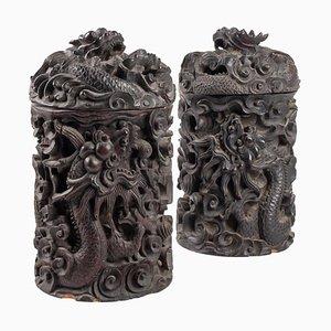 Holzkisten aus 19. Jhdt. Mit Dekor aus Indochina Eisen & Drachen, 2er Set