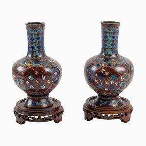 Cloisonné Bronze Vasen, Japan, 1900er, 2er Set