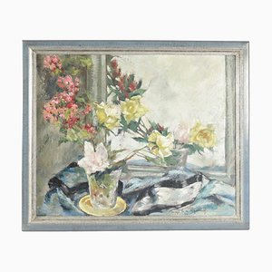 Peinture sur Bois d'un Bouquet de Fleurs devant un Miroir, 1920s