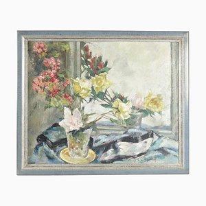 Pintura sobre madera de un ramo de flores frente a un espejo, años 20