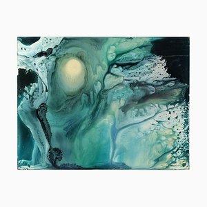 Pintura de arte abstracto sobre tablero de madera dura, 1982