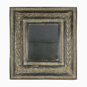 19th Century Mirror with Mercury Glass in Ebonized Wood with Brass