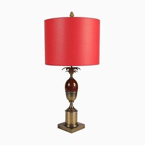 Rote Mid-Century Tischlampe aus Messing & Harz, 1960er