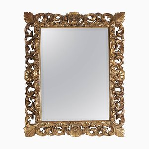 Napoleon III Mirror in Hand-Carved Gold Gilded Wood with Beveled Mirror