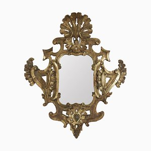 Louis XV Mirror in Hand-Carved Gold Gilded Wood with Mercury Mirror