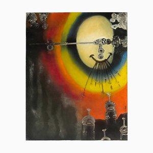 Komposition Öl auf Leinwand von Paul Ackerman, 1960er