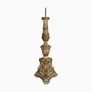 19th Century Candlestick in Sculpted in Lacquer & Solid Wood
