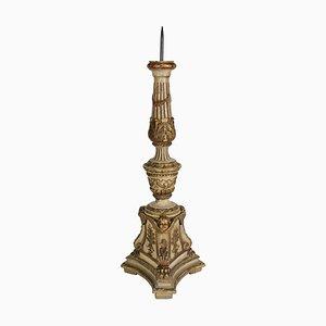 Kerzenständer aus geschnitztem Lack & massivem Holz, 19. Jh