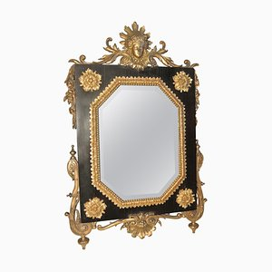 Antique Table Mirror Ormolu on Ebony, Beveled Mirror & Gilded Bronze