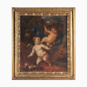 Pittura raffigurante tre amori raffigurante olio su tela, Germania, XVII secolo