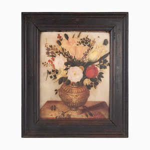 17th Century Painting on Alabaster Flemish Representative a Bouquet of Flower