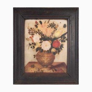 Pintura de un representante flamenca de alabastro con un ramo de flores