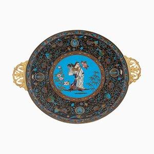 Antique Polychrome Cloisonné Enameled Dish with Character Decor & Entrelacs Fleuris
