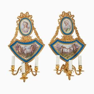 19th Century Napoleon III Gilt Bronze and Porcelain Sconces, Set of 2