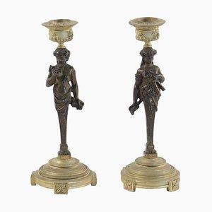 Bronze Napoleon III Kerzenständer aus Bronze, 2er Set