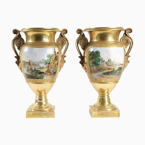 Charles X Vases in Old Paris Porcelain, Set of 2
