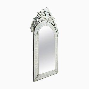 Venezianischer geätzter Spiegel mit Glasschirm, 1980er