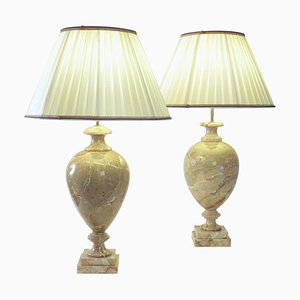 Lampes de Bureau en Marbre, 1980s, Set de 2