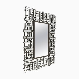 Modern Beveled Edged Mirror in Stainless Steel and Resin, 1990s