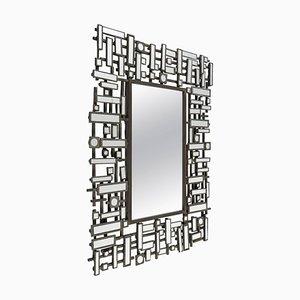 Moderner Spiegel mit Facettiertem Rand aus Edelstahl und Harz, 1990er