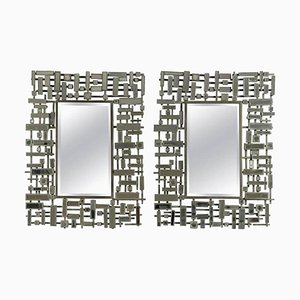 Modern Beveled Edged Mirrors in Stainless Steel and Resin, 1990s, Set of 2