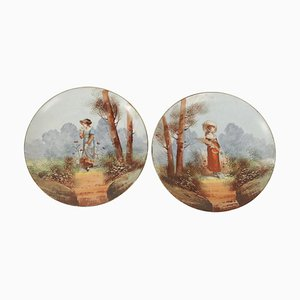 19th Century French Porcelain Hand-Painted Plates, Set of 2