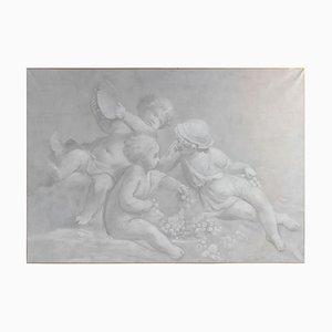 Napoleon III Grisailles auf Leinwand, 3er Set