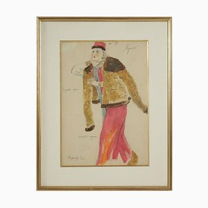 Watercolor Painting of a Russian Dancer from the Russian Theatre, 1960s