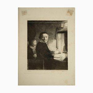 Grabado de acero de Rembrandt, siglo XIX de Francesco Novelisme