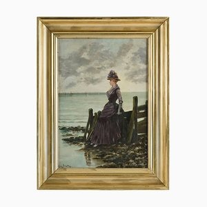 Elegant Woman at the Ocean Side Oil on Canvas Painting by Leon Breton