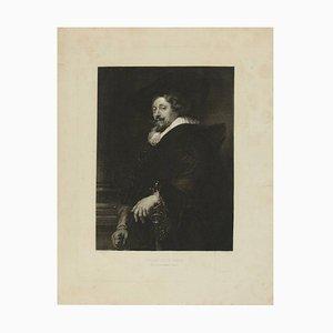 Grabado de acero del retrato de Peter Paul Rubens