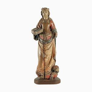 Wooden Sculpture of Saint Catherine in Walnut