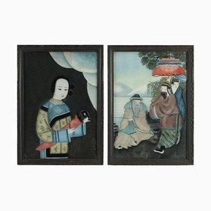 Asiatische Gemälde, 19. Jh. Unter Glas, 2er Set