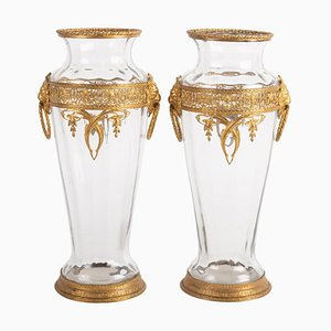 Antique Crystal and Gilt Bronze Vases, Set of 2
