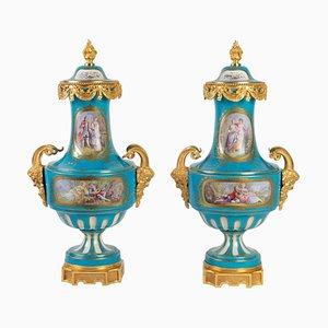 Napoleon III Vases in Sèvres Porcelain , Set of 2