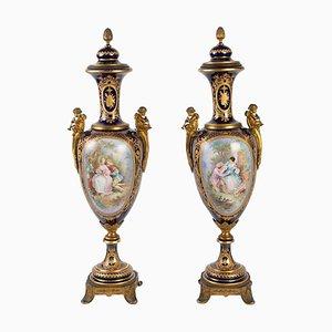 Blaue Sèvres Vasen aus Blauem Napoleon III, 19. Jh., 2er Set