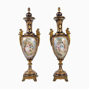 Vasi Sèvres blu Napoleone III, XIX secolo, set di 2