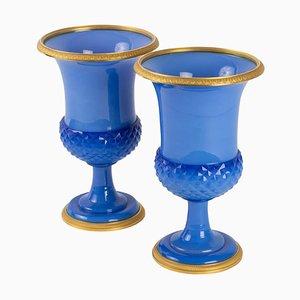 Charles X Medici Opaline Vases, Set of 2