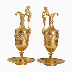 19th Century Gilt and Chiseled Bronze Ewers, Set of 2