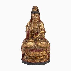 Bodhisattva 19ème Siècle en Bois Sculpté et Doré