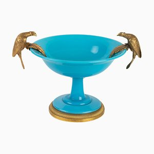 Antique Bronze Mounted Turquoise Blue Opaline Cup