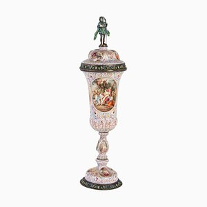 19th Century Sterling Silver and Enamel Vienna Lidded Goblet, 1880s