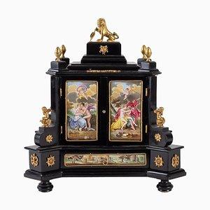 Viennese Enamel, Gilded Bronze & Enameled Porcelain Miniature Cabinet
