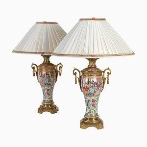 19th Century Canton Porcelain Lamps, Set of 2