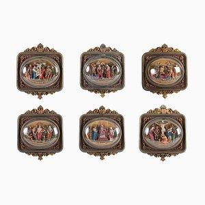 Napoleon III Chemins De Croix Under Glass, Doré & Polychrome, 6er Set